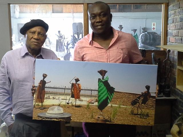 Prof. Ntuli with the Publisher of SANigerians.com Mr. Sunny-Unachukwu John @his Wynberg Gallery